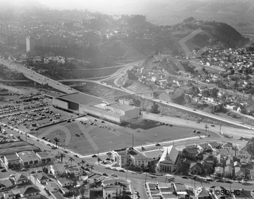 1952 Hillcrest Sears Mercy Hospital And Mission Valley At The Far Upper Right Mission Valley San Diego Old Town San Diego San Diego Area