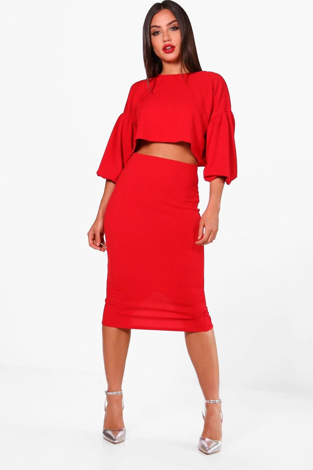 1f7b0ccb94f Puff Ball Sleeve Top and Midi Skirt Set | Wish List. Want List ...