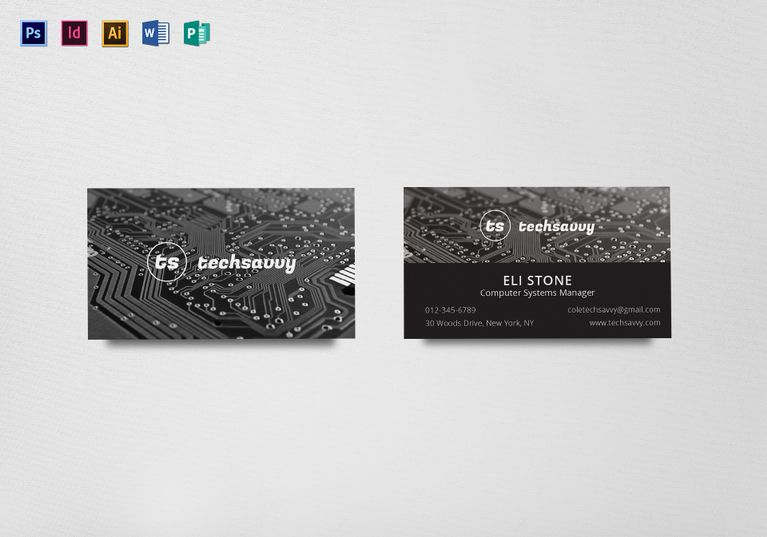 Tech Savvy Inventor Business Card Template Business Card Template Card Template Business Card Design