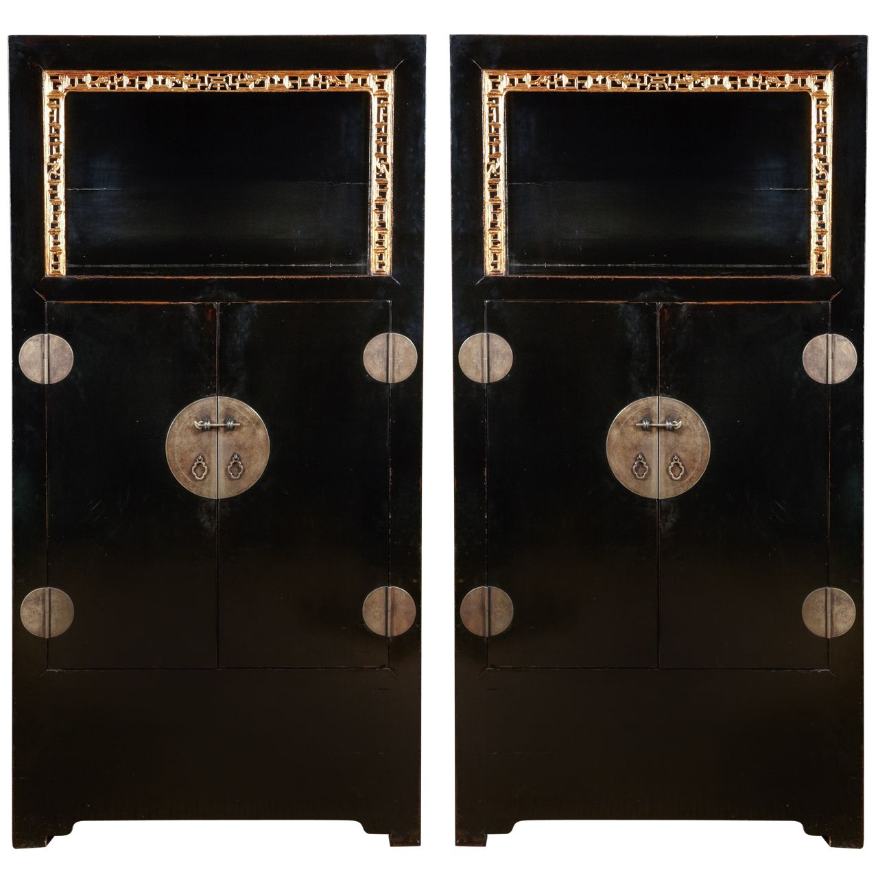 19th C A Pair Of Chinese Black Lacquer Cabinets From A Unique Collection Of Antique And Modern More Asian Art Objects And Furniture At Http Www Forteresse