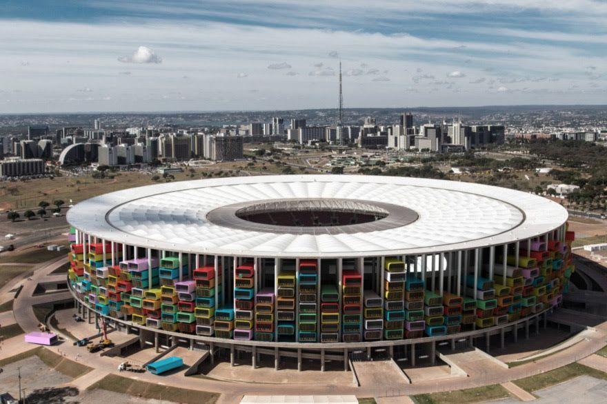 A Proposal To Turn A Worldcup Stadium Into Housing Creates A Mcm Aesthetic Casafutebol Core77 Com World Cup Stadiums Homeless Housing Stadium Design