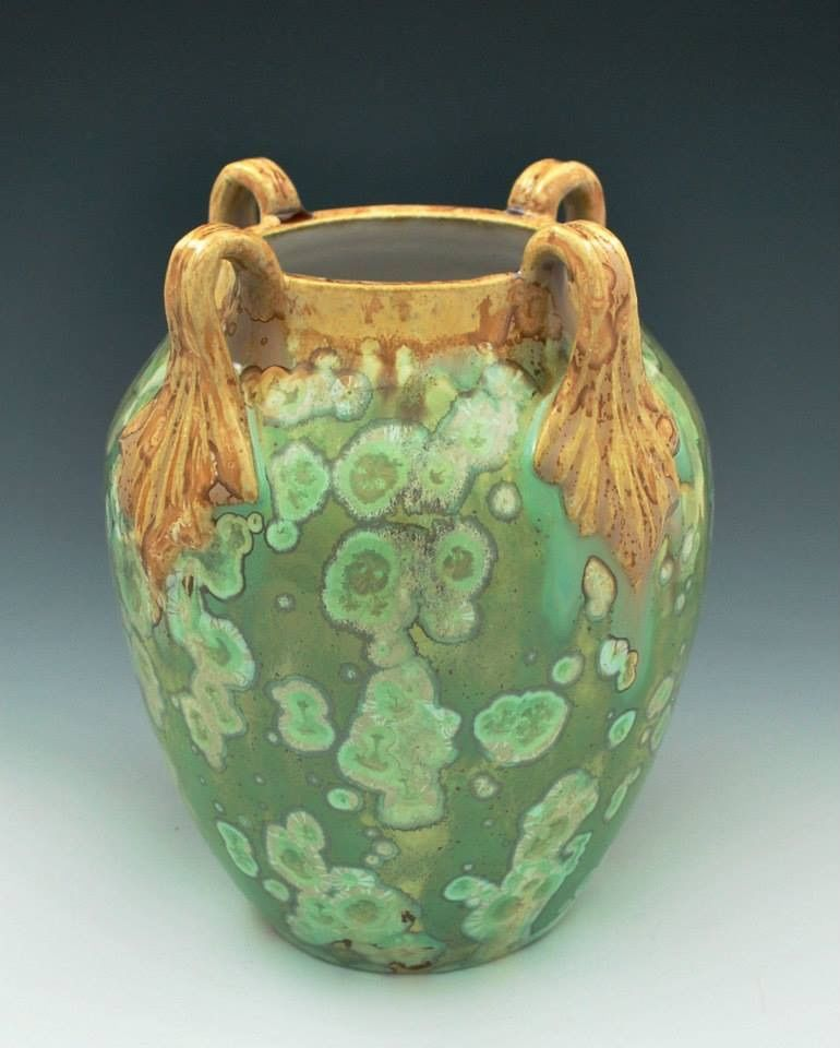 French Art Nouveau inspired crystalline glazed vase with leaf handles by JW Art Pottery.