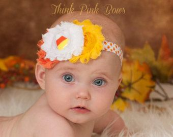 Halloween baby headband, baby headband,fall headband, baby girl headband in orange yellow and white,baby bows