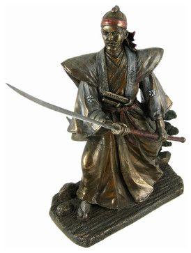 samurai warrior with naginata statue japanese asian sculptures