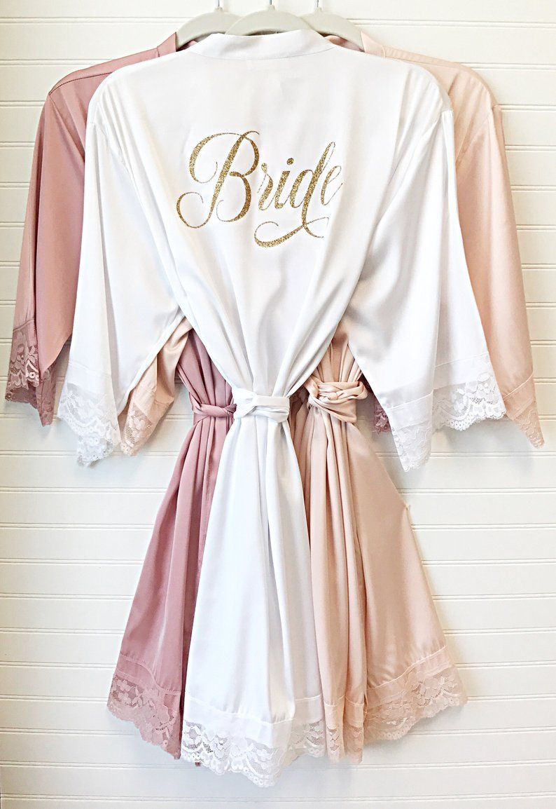 Honeymoon Set of 5 Bridesmaid Robes wedding night Bride Bridal Party Custom Personalized Monogrammed Initials Wedding Satin Robes