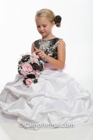 White and camo flower girl dress with pink sash from camoformal white and camo flower girl dress with pink sash from camoformal mightylinksfo