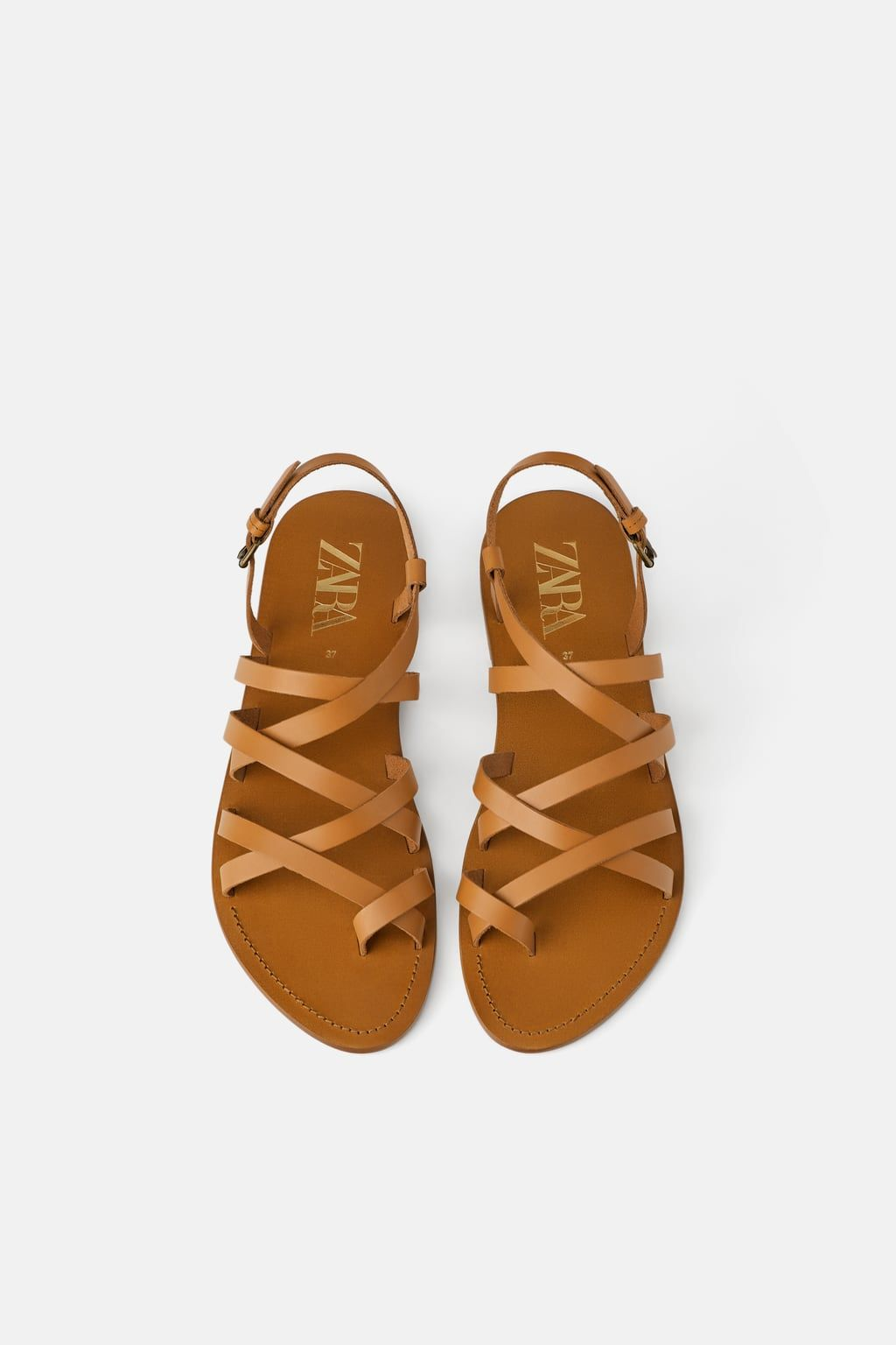 744d8ec0a23ea LOW-HEELED STRAPPY LEATHER SANDALS-Flat Sandals-SHOES-WOMAN | ZARA United  States