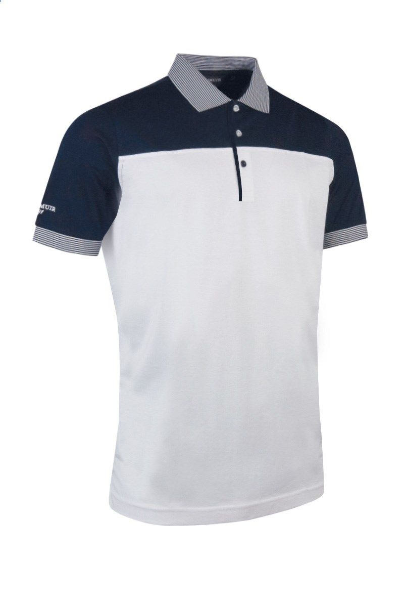d4825dd019a44 Glenmuir Mens Colour Block Striped Collar Golf Polo Shirt - White Navy