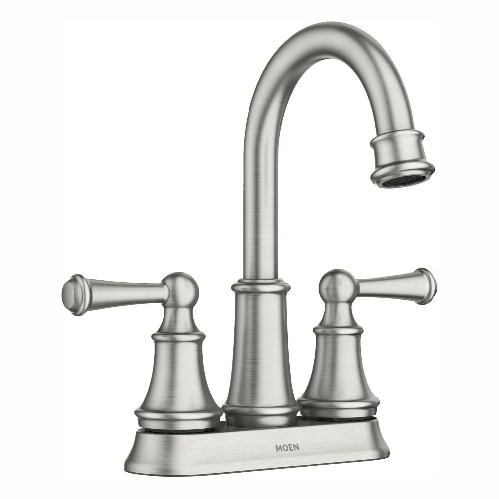 Moen Brecklyn 4 In Centerset 2 Handle Bathroom Faucet In Spot Resist Brushed Nickel 84162srn The Home Depot Bathroom Faucets Faucet Small Shower Remodel