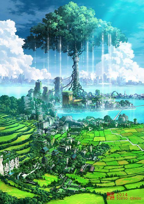 スカイツリーの夏 東京幻想 Official Blog ファンタジーな風景 庭作りのアイデア アニメの風景