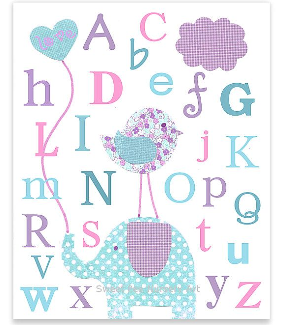 Baby Nursery Art Print Dog Abc Nursery Decor Alphabet Print: Nursery Art Alphabet Letters ABC Print Aqua Pink And
