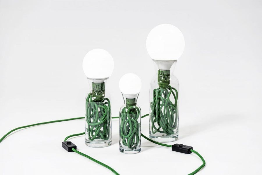 Pulse glass lamp green