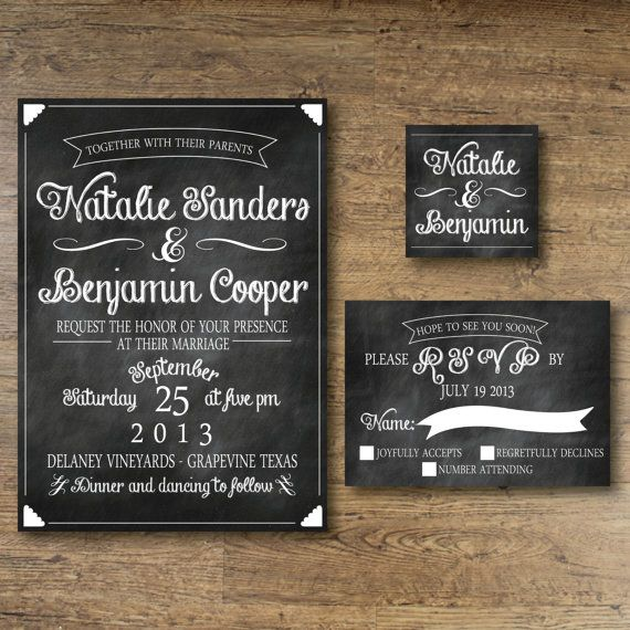 Printable Wedding Invitation - Chalkboard Vintage