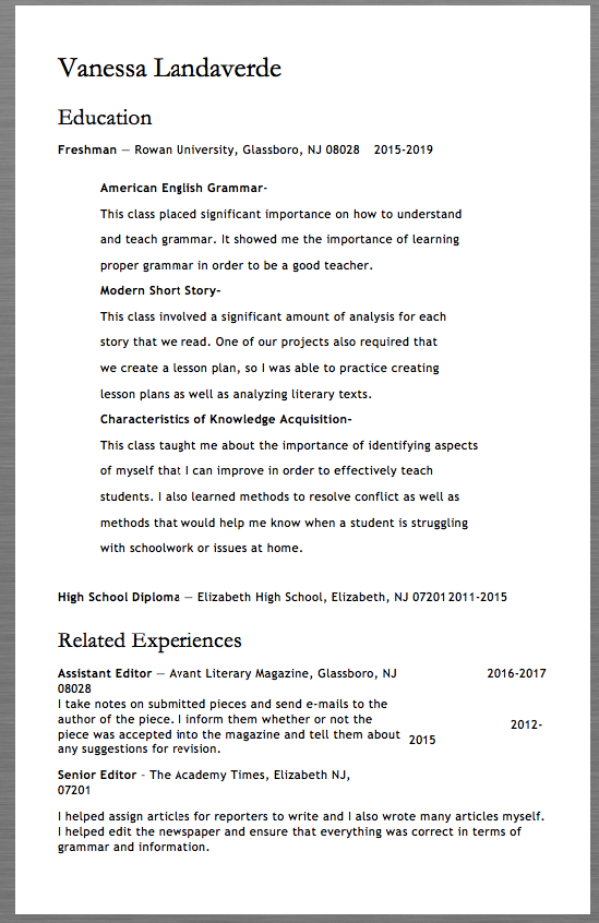 Freshman Resume Template Examples Vanessa Landaverde Education