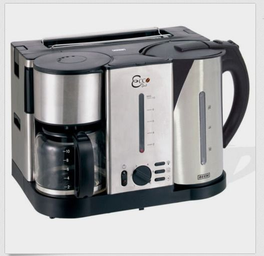 beem ecco 3 in 1 breakfast center coffee maker kettle and toaster stainless ste toaster. Black Bedroom Furniture Sets. Home Design Ideas