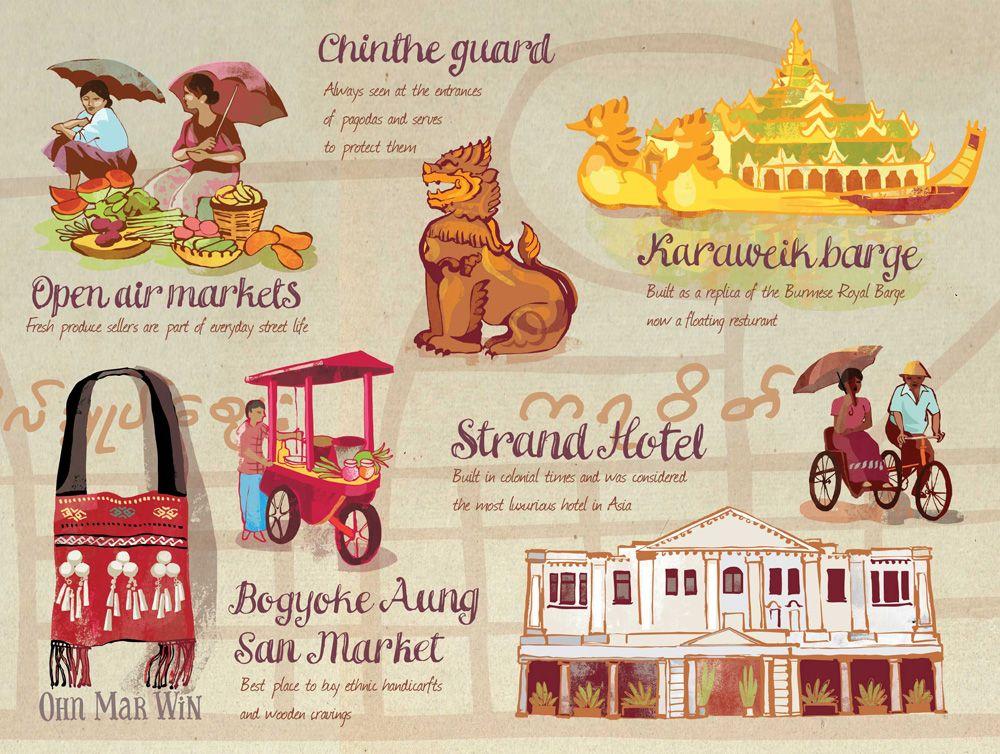Yangon Myanmar Ohn Mar Win Myanmar Art Illustrated Map
