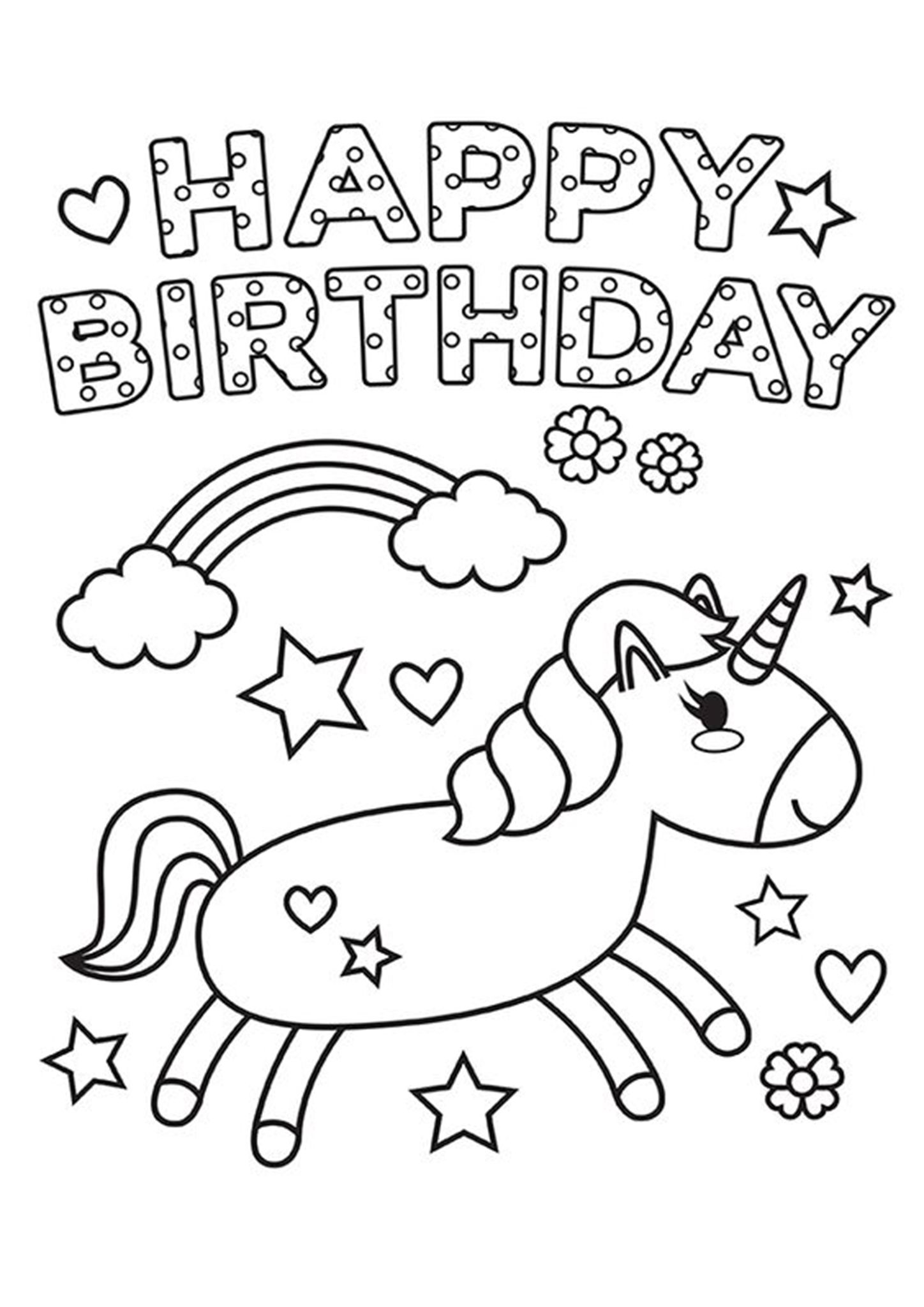 Free & Easy To Print Happy Birthday Coloring Pages in 2020