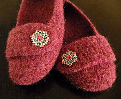 Felted Crochet Slippers pattern by Bonny Woods | Crocheted slippers ...