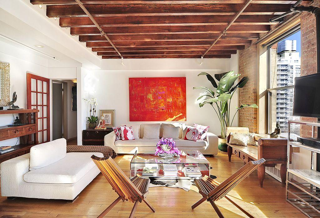Modern Living Room With Interior Brick, Mid Century Danish