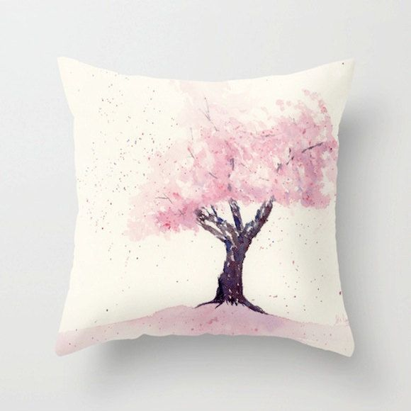 Cherry Blossom Pillow Cover Throw Pillows Hand Painted Fabric Pillow Art