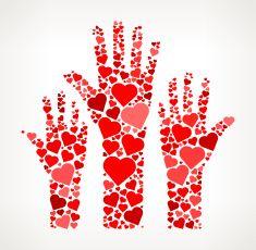 Raised Hands Red Hearts Love Pattern vector art illustration