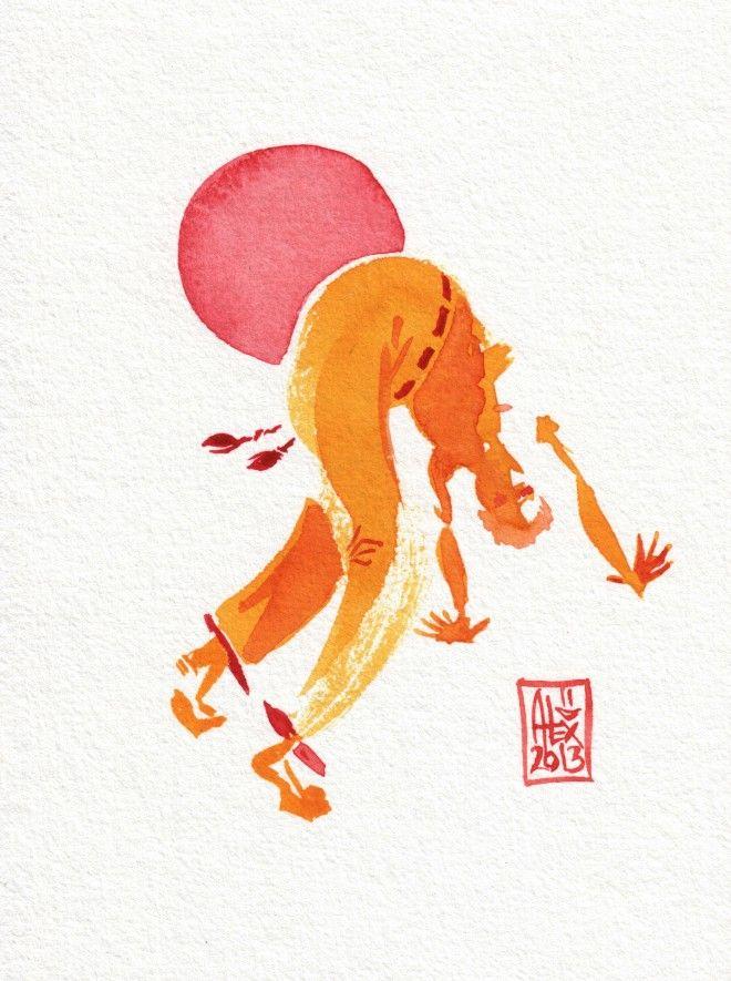 Encres : Capoeira – 301 [ #capoeira #watercolor #illustration]