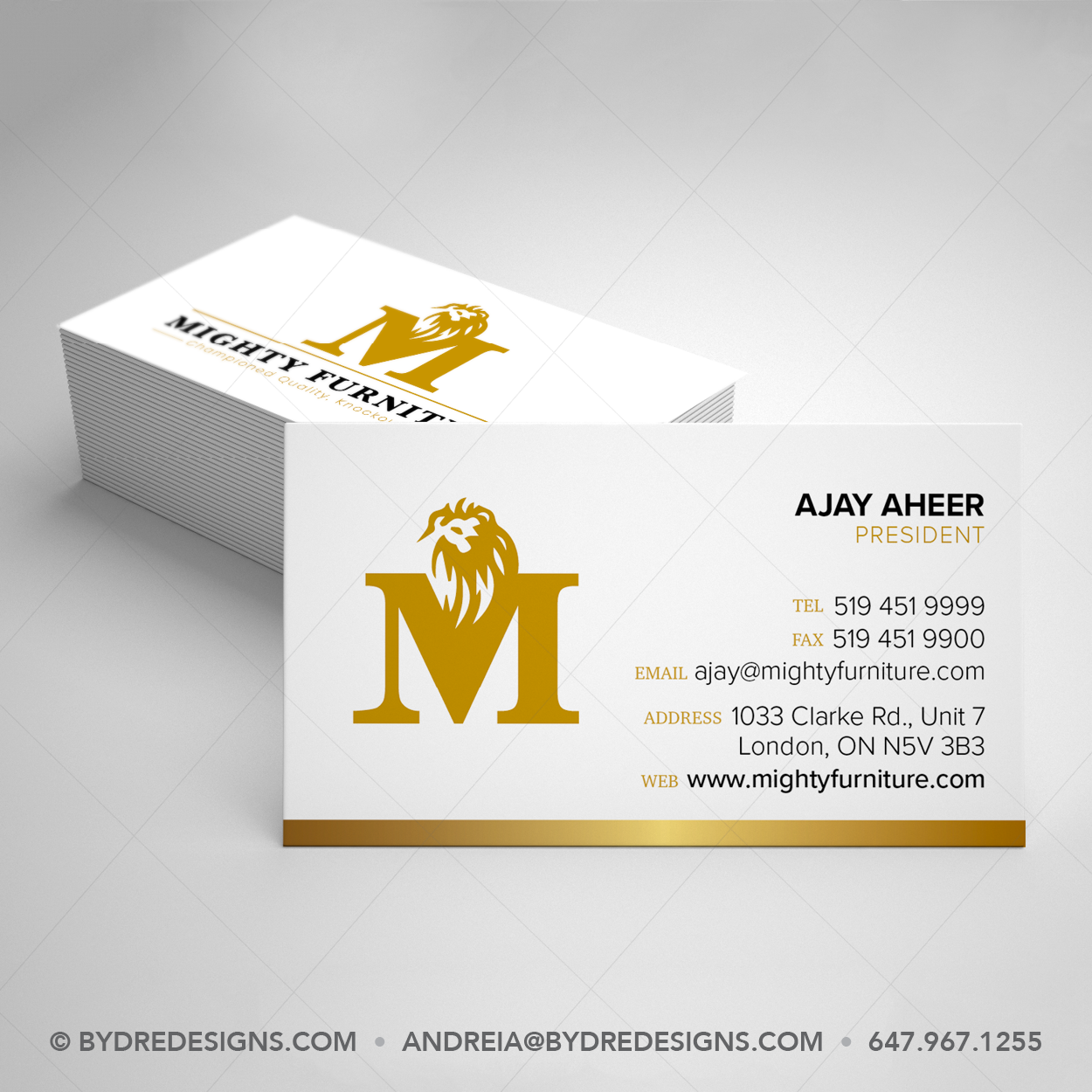 Business Card Design For Furniture Store Gold And White Business Card Business Card Design Classic Business Card Luxury Business Cards