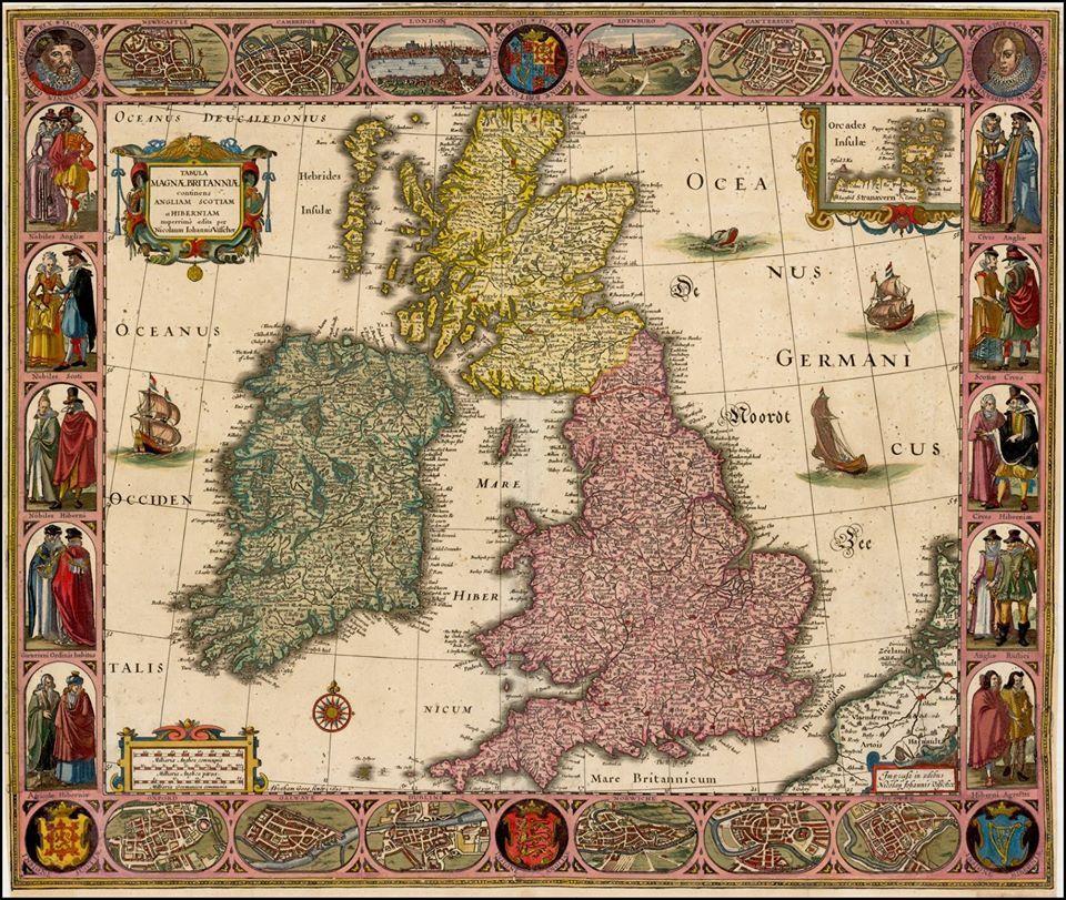 Tabula Magnae Britanniae continens Angliam Scotiam et Hiberniam nuperrime edita Nicolaum Iohannis Visscher . . . 1630