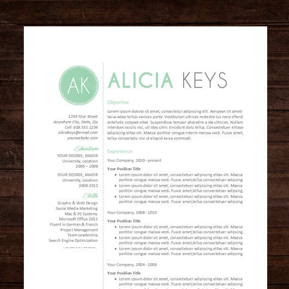 ☆ Instant Download ☆ Resume / CV Template The Alicia Resume