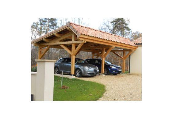 abris de voiture  vente d'un carport en bois asymétrique