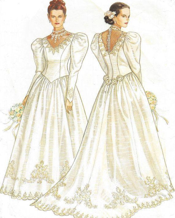 80s Womens Wedding Gown Illusion Neckline Princess By Cloescloset Wedding Gown Illusion Neckline Bridal Dress Patterns Wedding Gowns Vintage