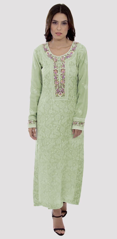 f7006b69cc Pista Green Chikankari And Parsi Gara Handcrafted Pure Georgette Suit