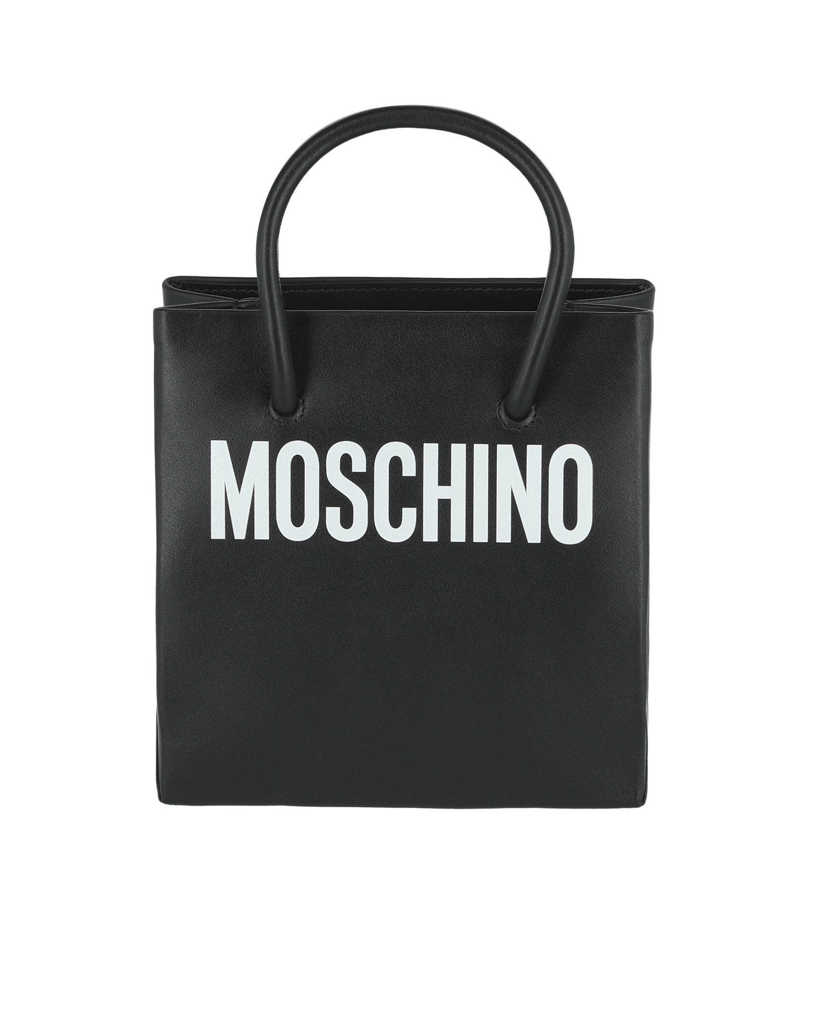 Moschino Logo Print Leather Tote Bag  a2d5a9f4858e0