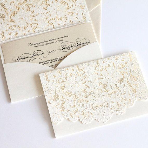 White Victorian Lace Wedding Invitations Elegant Laser Cut Invitations BH5138