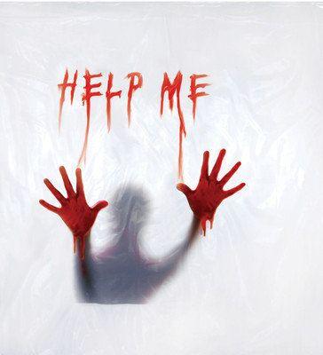 BLOODY SHOWER CURTAIN SCREAM PSYCHO HELP ME SCENE HAUNTED HOUSE HALLOWEEN PROP