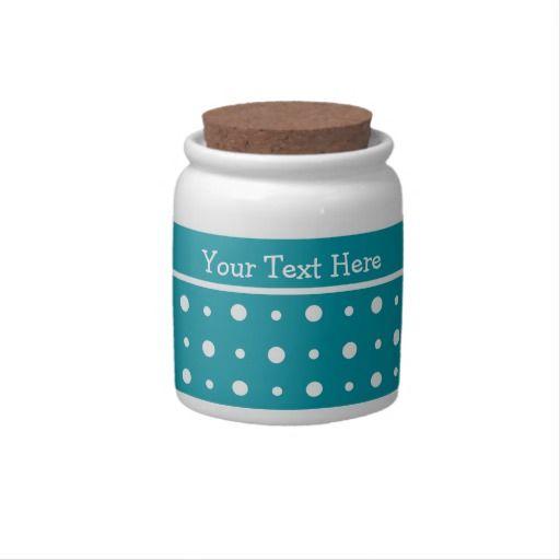 Custom Storage Jar, White Polka Dots on Teal Candy Jar: $18.95   #teal #polkadots #gifts  http://www.zazzle.com/custom_storage_jar_white_polka_dots_on_teal_candy_jar-165793728377550961?rf=238041988035411422