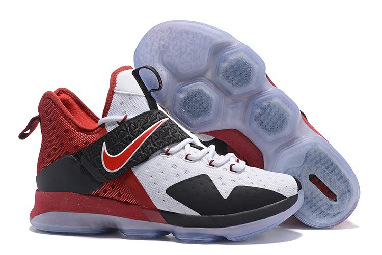 finest selection 256b7 a3772 Nike LeBron 14 White Black Red Men s Basketball Shoes