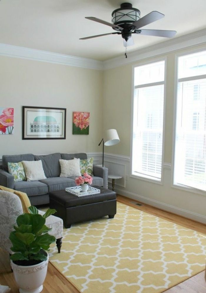 Hochwertig Nice Wohnzimmer Einrichten Tipps Bodenbelag Teppich Gelb Muster