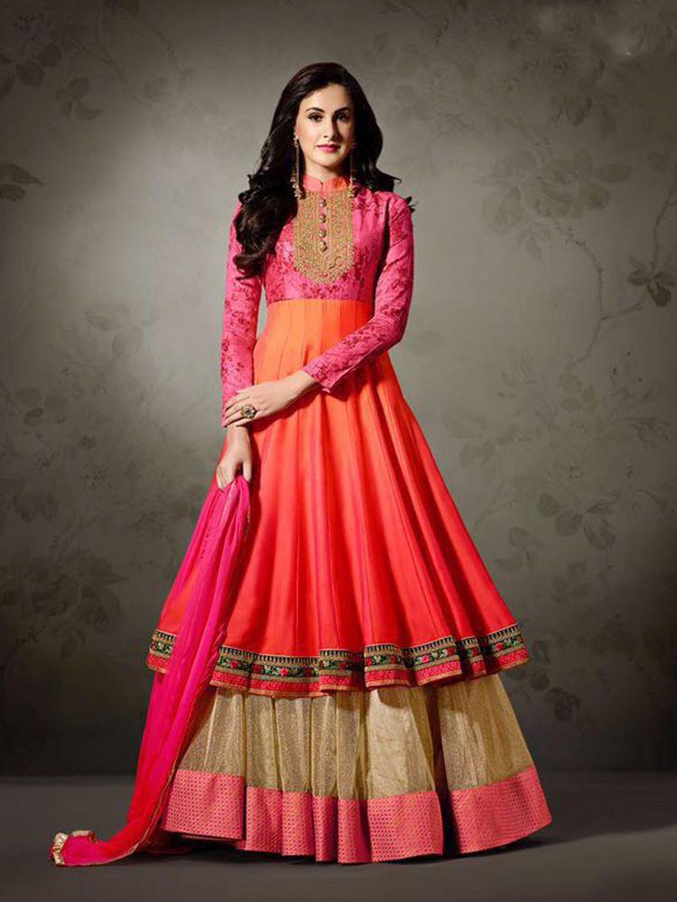 34749160896 Indian Traditional Stylish Long Party wear ethnic Women Anarkali Dress  Material  Shoppingover  SalwarKameez  WeddingPartyWear