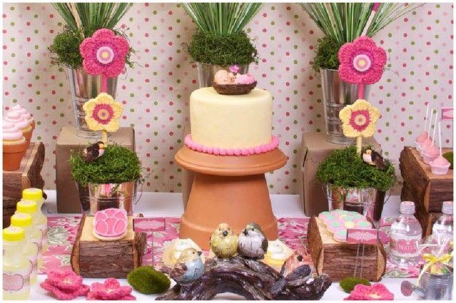 Spring garden party table + terra cotta pot cake stand