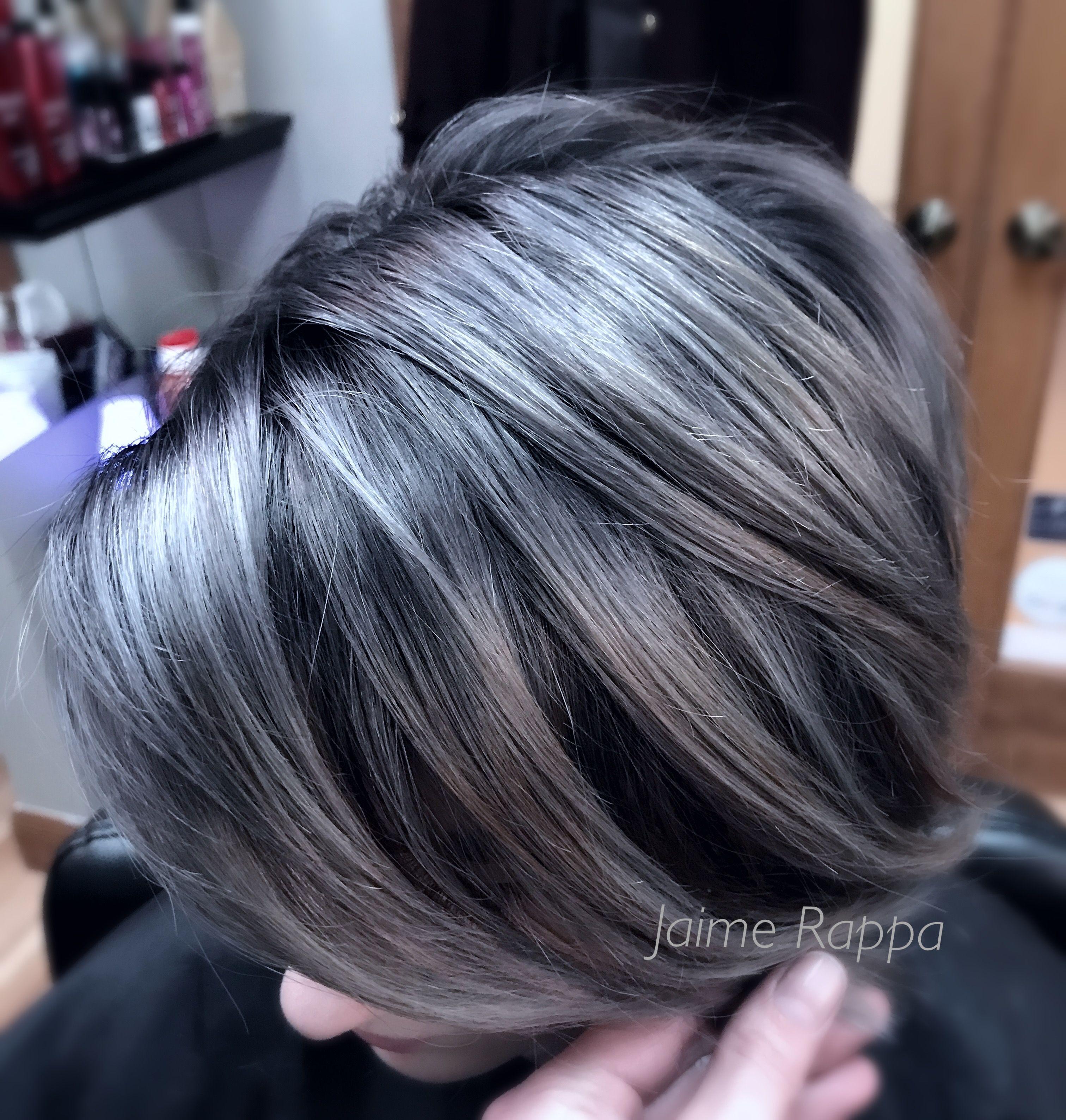 Gray Silver Hair I Used Guy Tang Big9 Lightener And Redken Shades Eq Gray Hair Highlights Silver Hair Short Silver Grey Hair