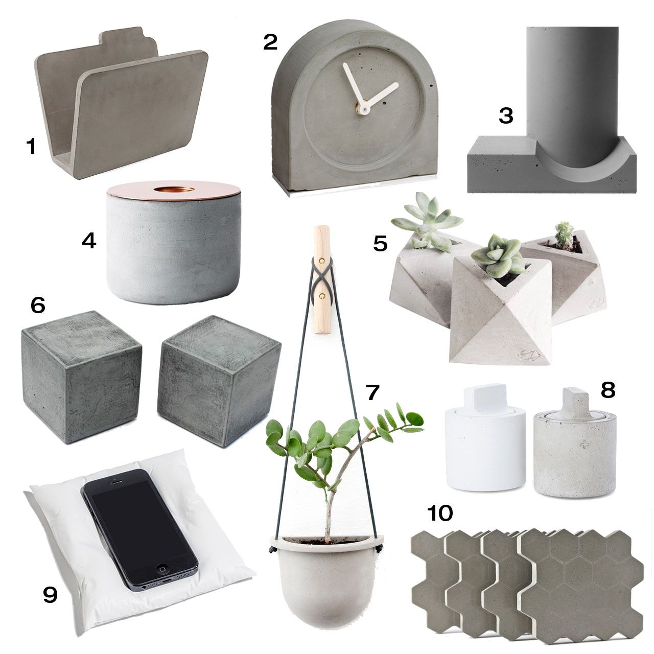 10 Modern Concrete Accessories Cool desk accessories