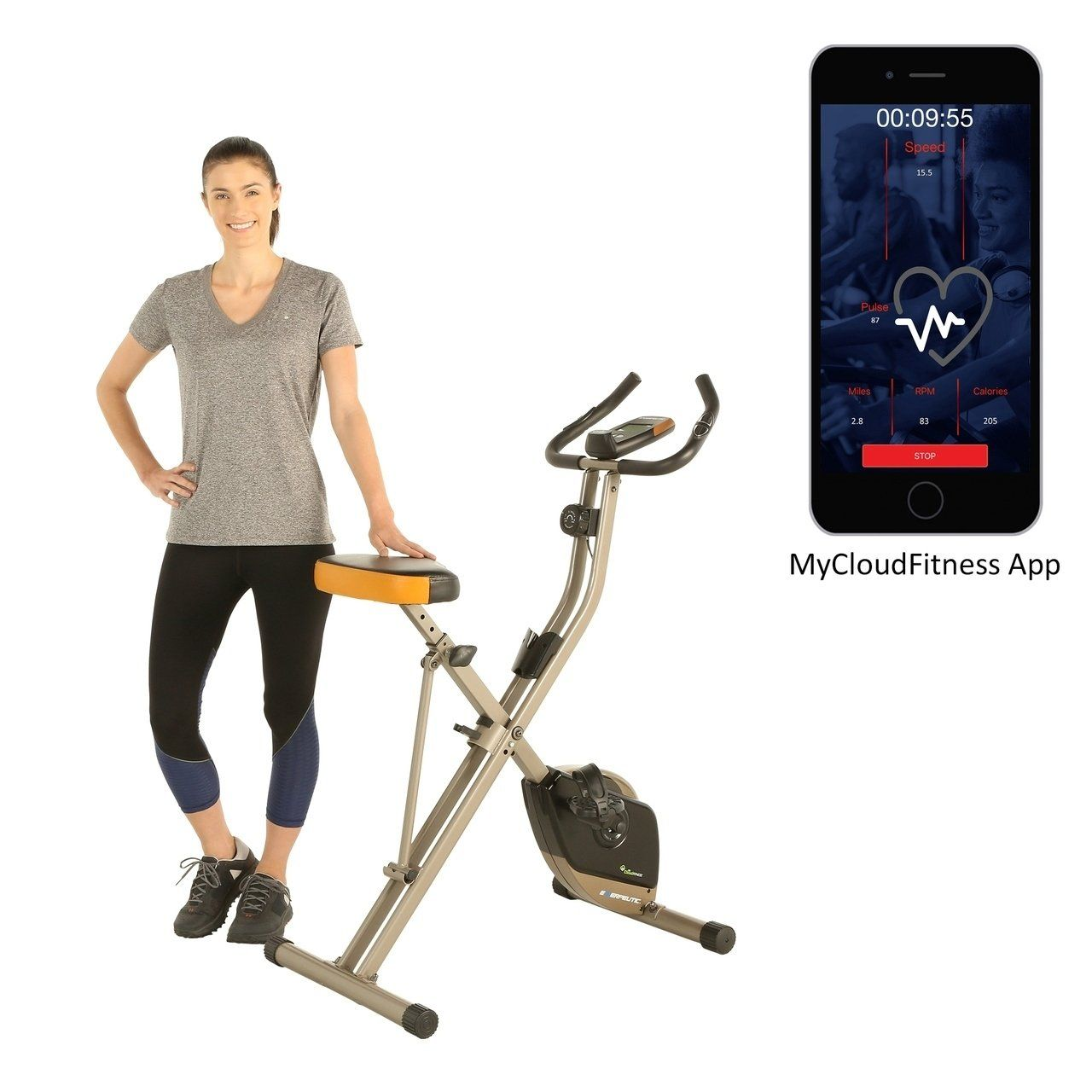 Exerpeutic Folding Magnetic Upright Exercise Bike With Free App