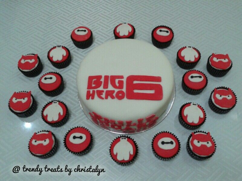 Big Hero 6 Cake and Cupcakes space provided for cake toppers