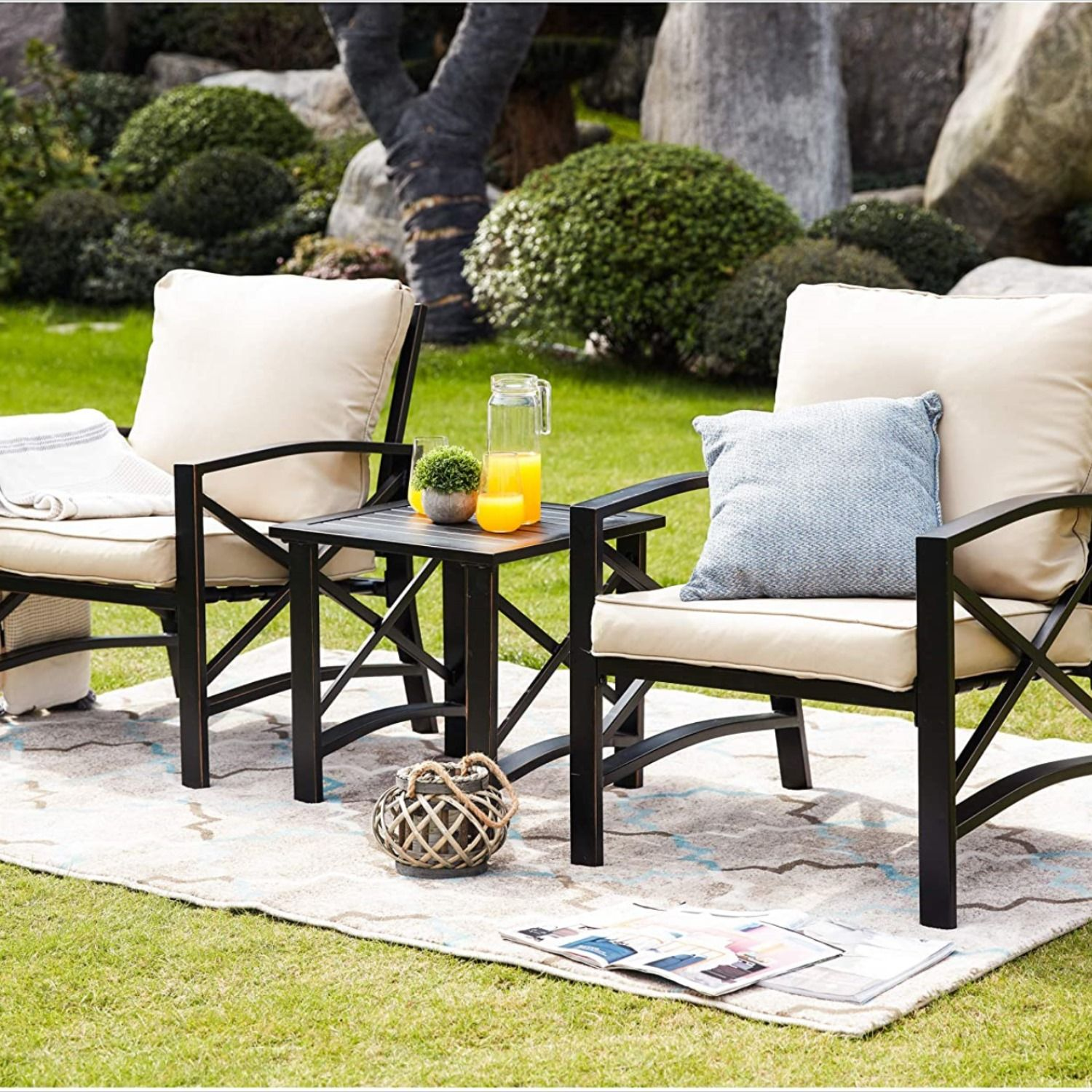 Lokatse Home 3 Piece Patio Conversation Set Outdoor Furniture With Coffee Table Chair Conversation Set Patio Patio Lounge Furniture Deep Seating