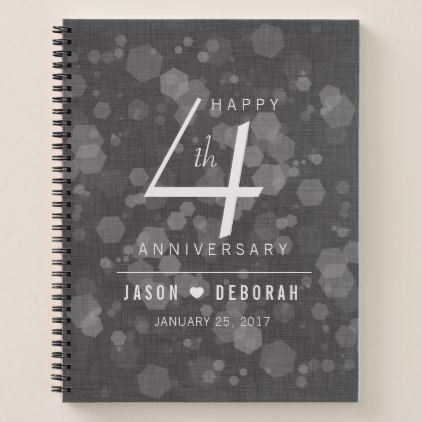 Elegant 4th Linen Wedding Anniversary Celebration Notebook