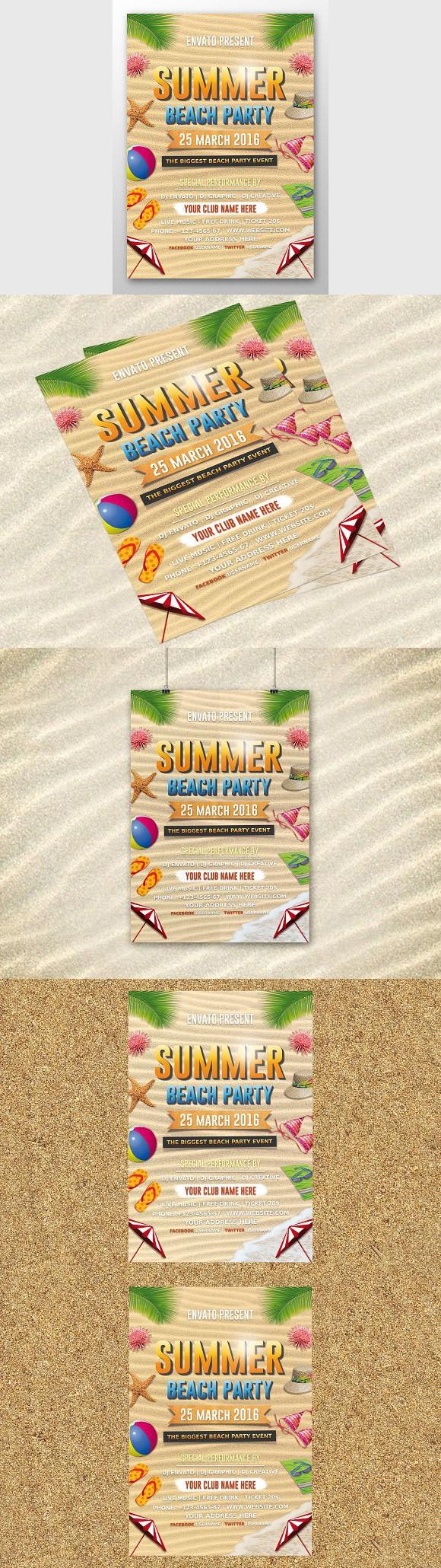Beach Party Flyer. Photoshop Textures | Photoshop Textures | Pinterest