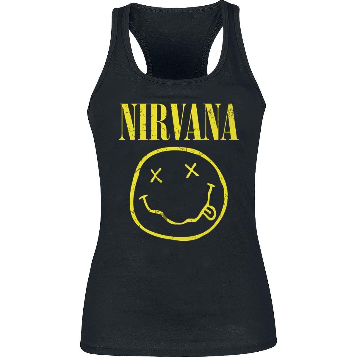 - tryk på fronten. - rund hals. - ærmeløs  Grunge vil leve forevigt. Det samme vil Nirvanas musik. Nirvana var Grunge legende nr. 1. Og så handler det selvfølgelig om Kurt Cobain, der nu selv befinder sig oppe i musik-nirvana med alle de ander afdøde, musikalske helte.