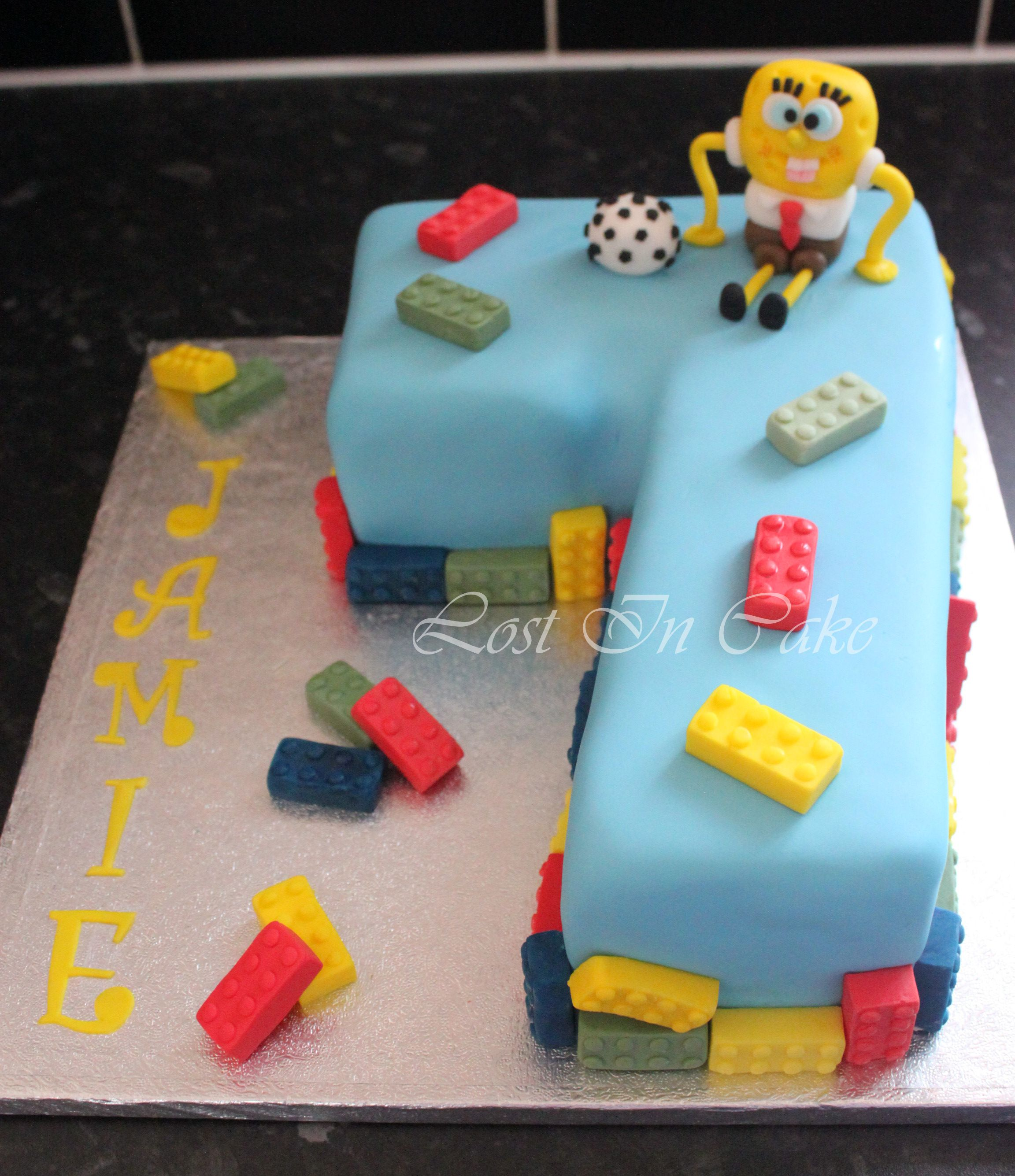 Lego Spongebob Football Themed Number 7 Shaped Cake Birthday