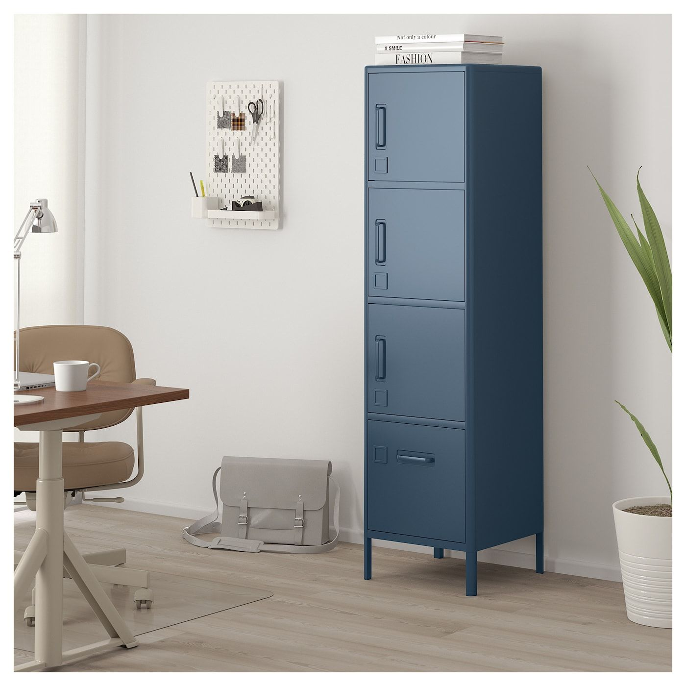High with drawer and doors, blue, 17 3/4x67 3/4